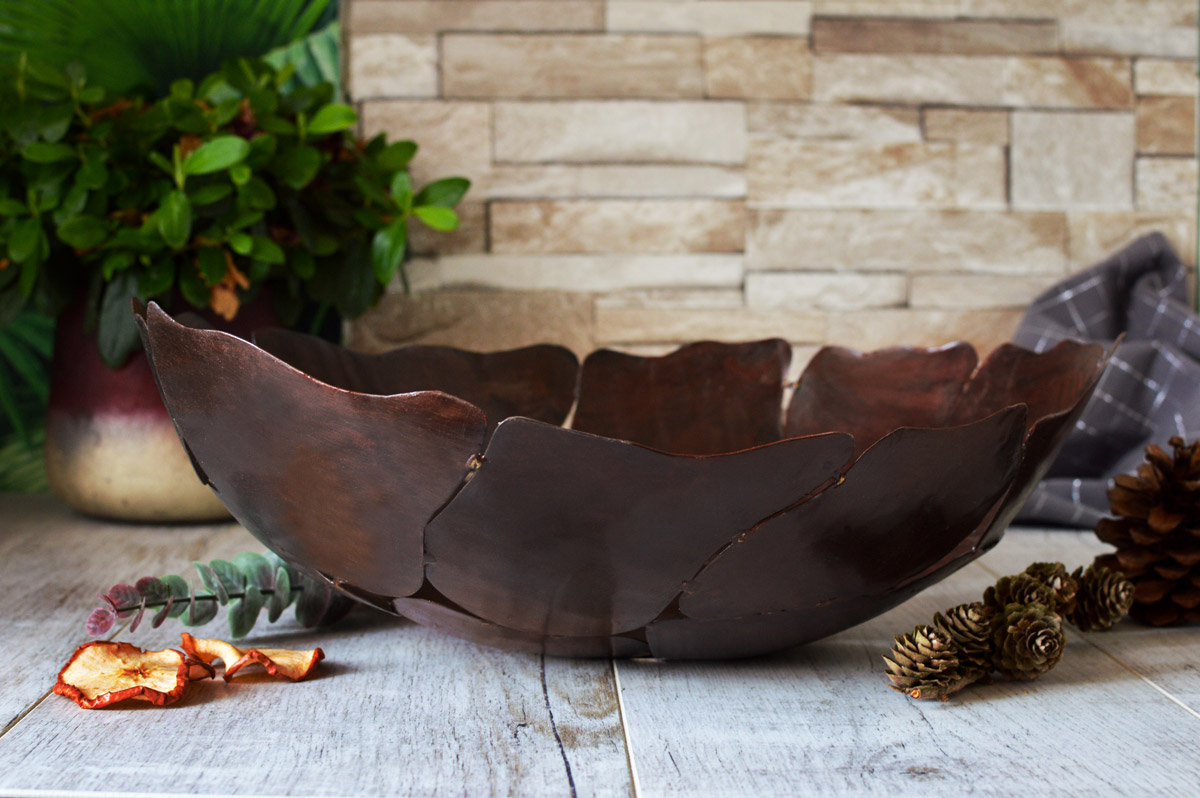 Grosse Metallschale Dekoschale Schale Metallkorb Obstschale Tischdeko Handgemacht Ebay