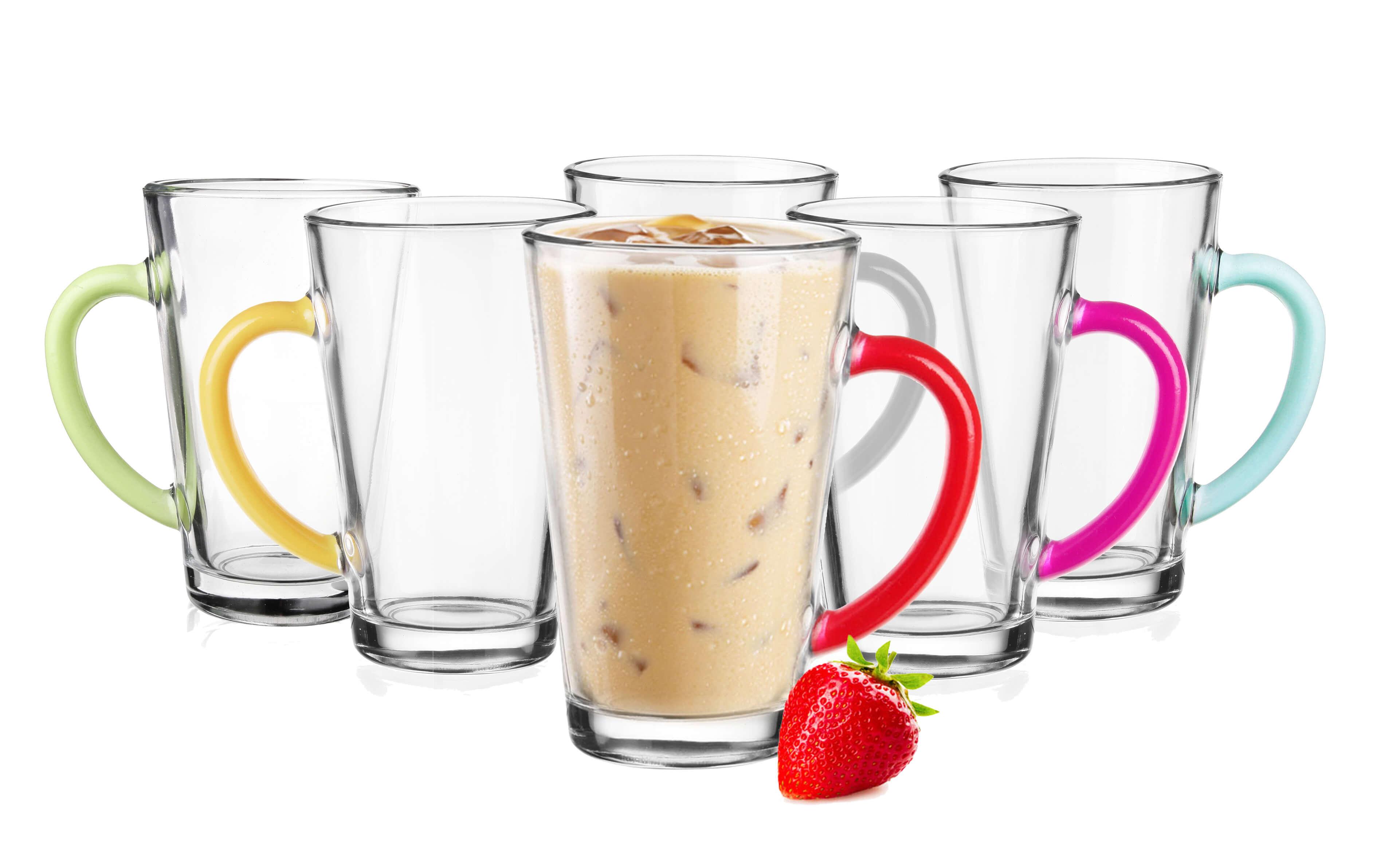 6 latte macchiato glasses 300ml with colourful henkel 6 spoons free coffee glasses ebay. Black Bedroom Furniture Sets. Home Design Ideas