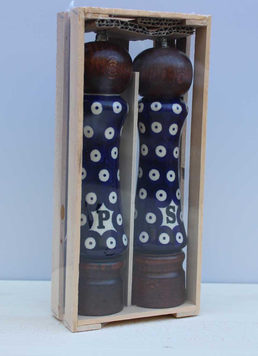 2er Set Pfeffermühle Salzmühle 22cm Mühle Bunzlauer Keramik Holz Gewürzmühle #7