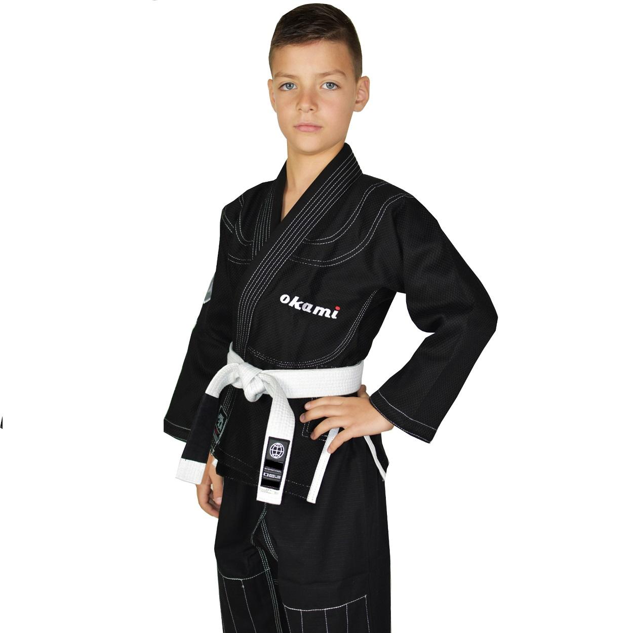 Kinder Kids Jungen M/ädchen BJJ Gi Kimono Jiu Jitsu Anzug f/ür Kinder und Jugendliche OKAMI Fightgear Kinder BJJ Gi Shield Schwarz