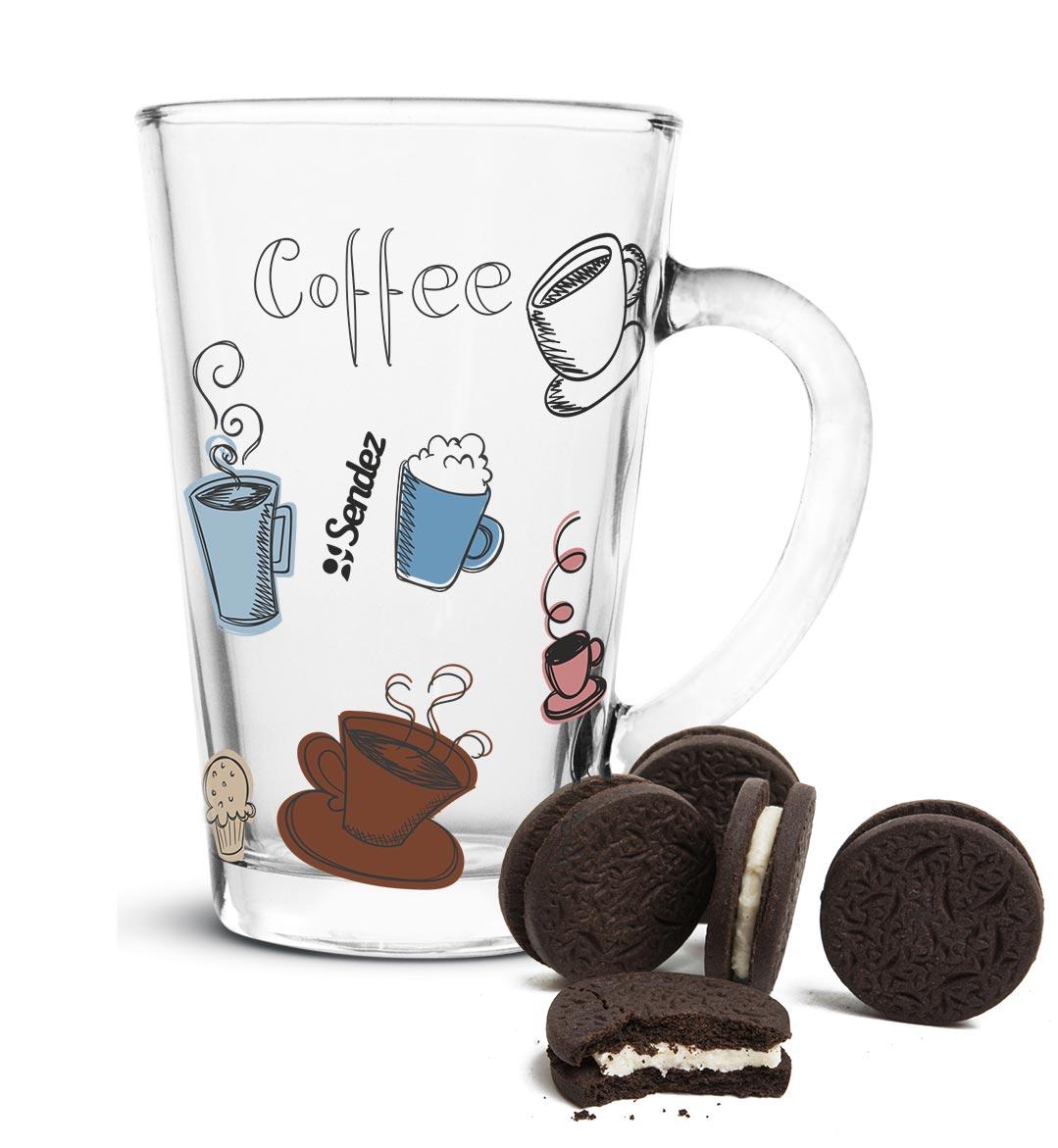 6 latte macchiato gl ser 300ml kaffeegl ser teeglas bunter aufdruck ebay. Black Bedroom Furniture Sets. Home Design Ideas