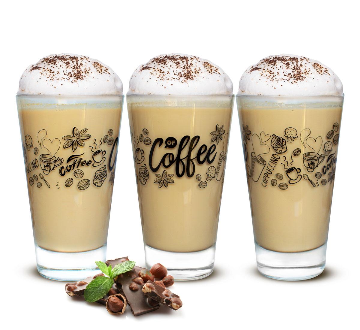 6 latte macchiato gl ser 310ml kaffeegl ser teegl ser mit schwarzem kaffee motiv ebay. Black Bedroom Furniture Sets. Home Design Ideas