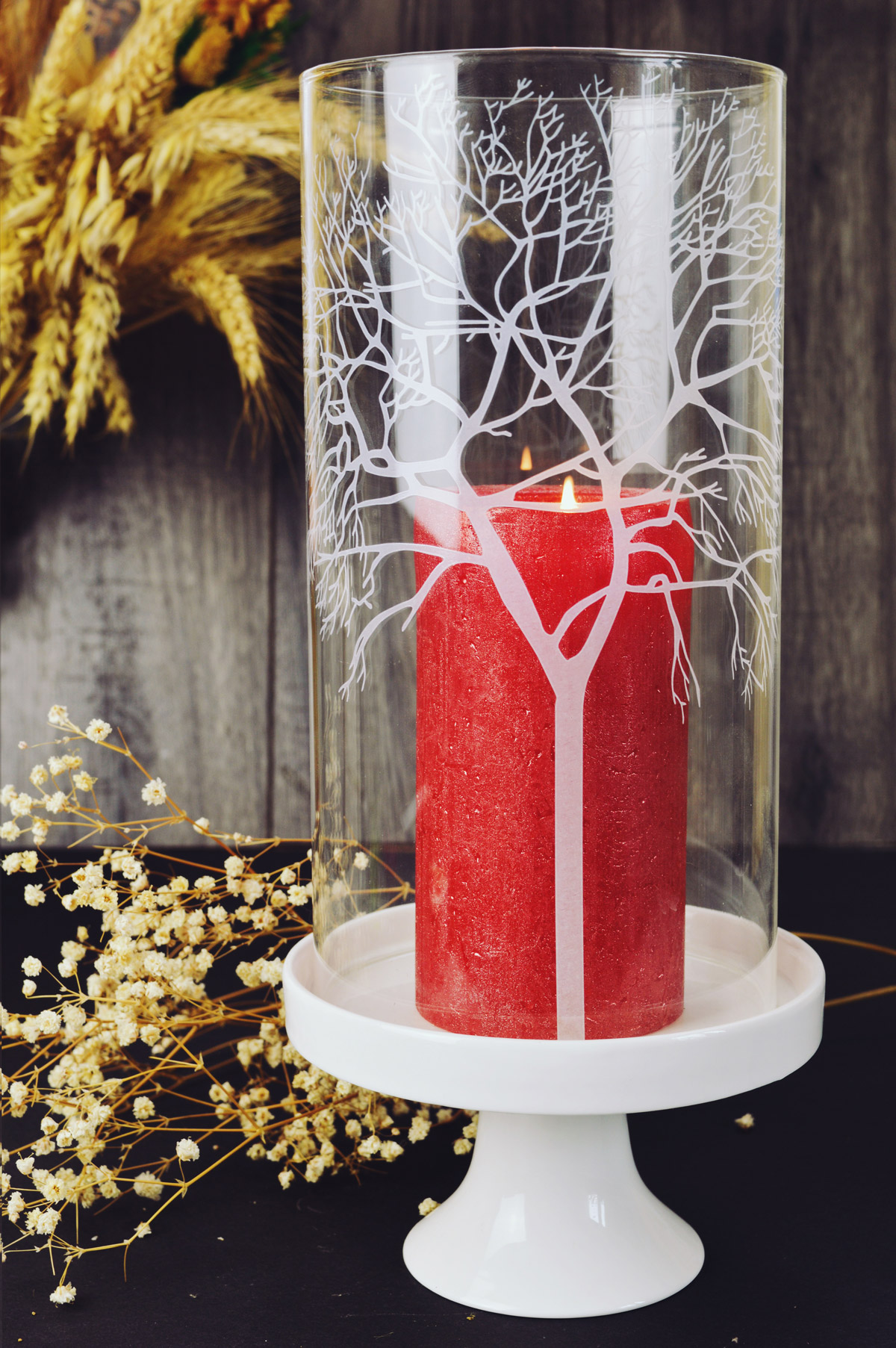 windlicht glaszylinder mit porzellanteller kerzenhalter tischdeko kerzenst nder ebay. Black Bedroom Furniture Sets. Home Design Ideas