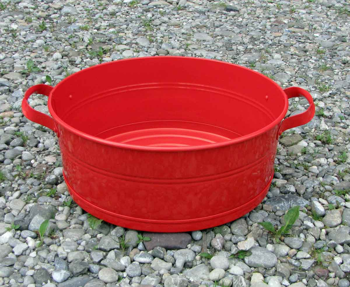 Deko-Wanne Metall rot D 39 cm Wanne Pflanzwanne Pflanzschale