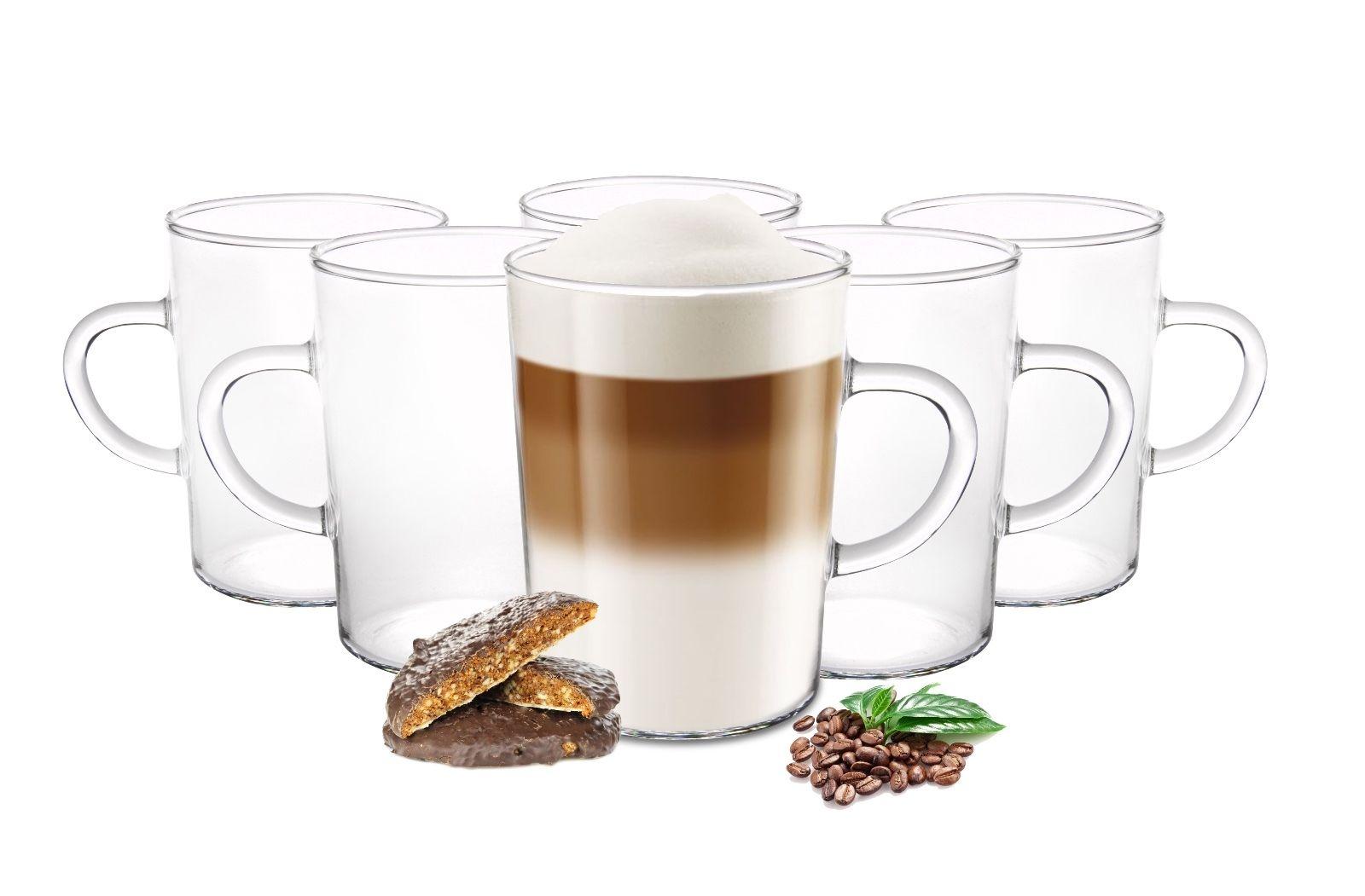6 kaffeegl ser 220ml mit henkel borosilikat teegl ser latte macchiato gl ser ebay. Black Bedroom Furniture Sets. Home Design Ideas