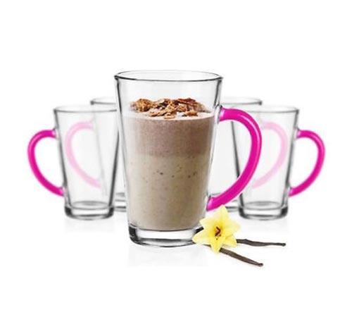 6 Latte Macchiato Gläser 300 Ml Mit Rosa Henkel Tee Saft