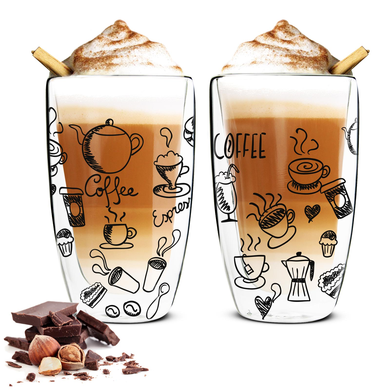 2 double walled latte macchiato glasses 450ml 2 spoons coffee glasses motif black ebay. Black Bedroom Furniture Sets. Home Design Ideas