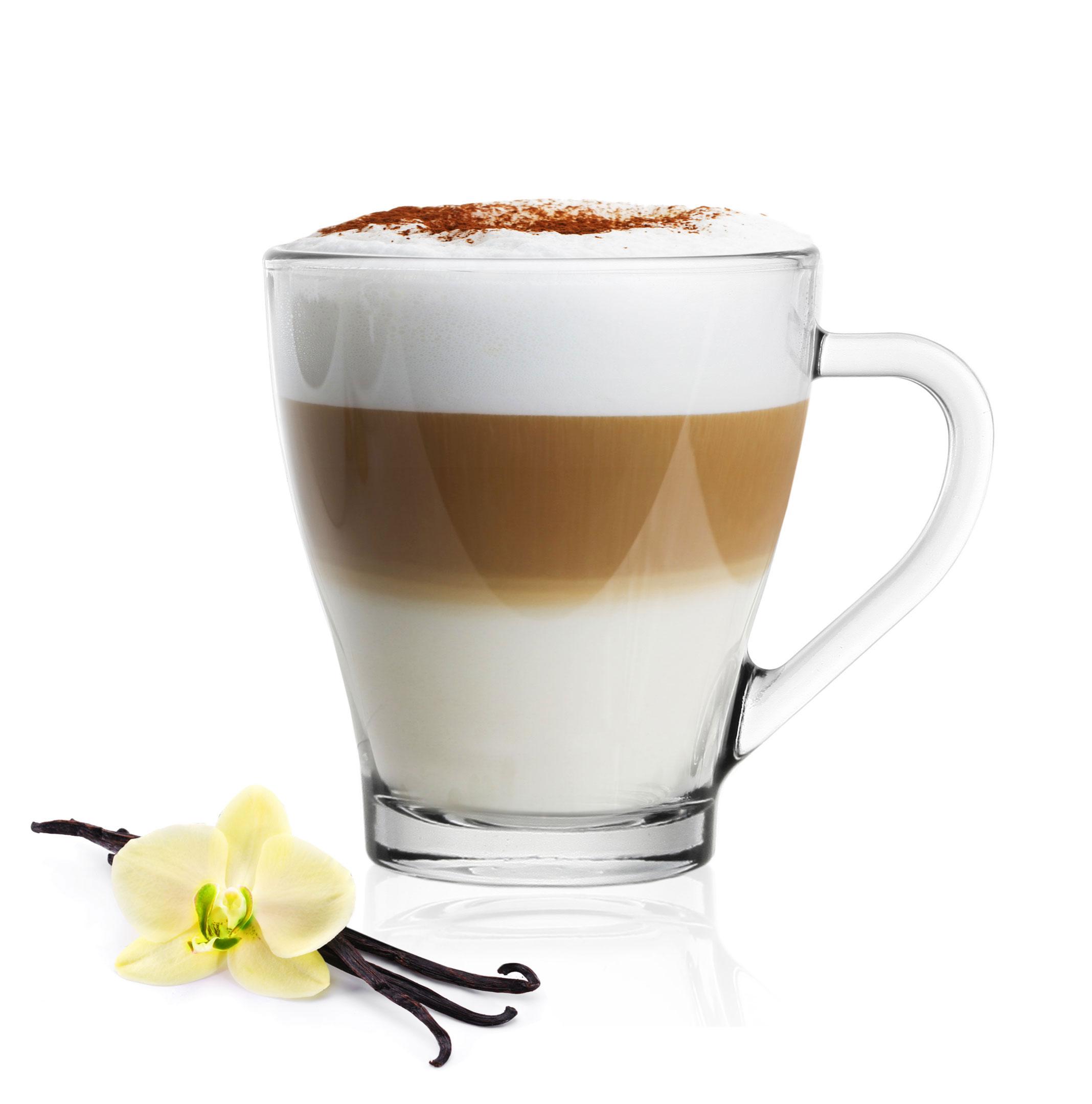 6 cappuccino tassen kaffeegl ser teegl ser 250 ml und 6 edelstahl l ffel gratis ebay. Black Bedroom Furniture Sets. Home Design Ideas