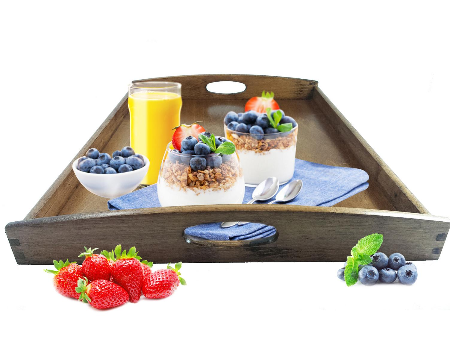 Frühstückstablett serviertablett dunkel holztablett betttablett frühstückstablett