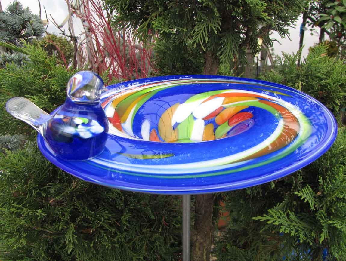 edle vogeltr nke aus glas blau d 29 cm handgefertigt vogelbad glasobjekt ebay. Black Bedroom Furniture Sets. Home Design Ideas