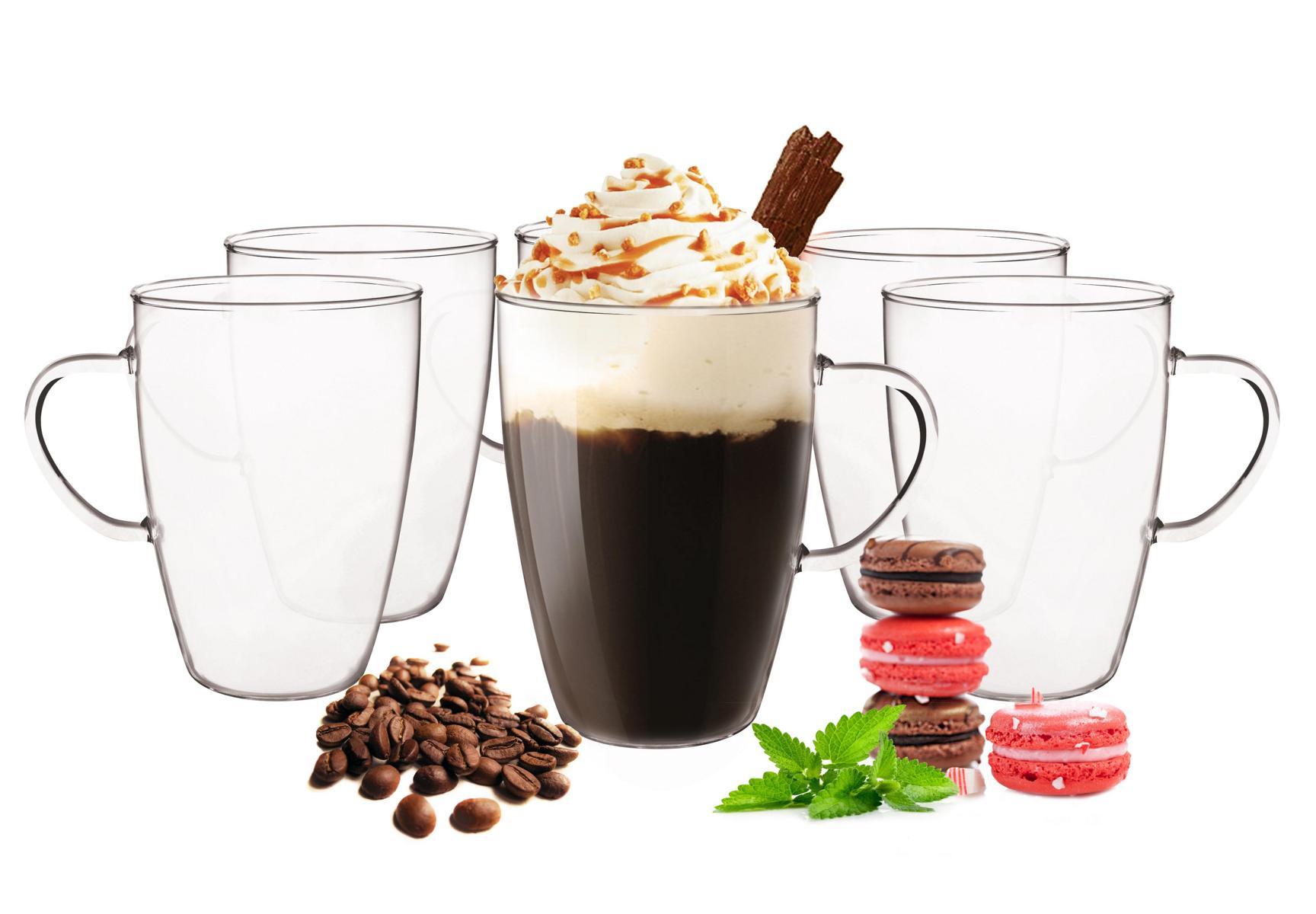 6 latte macchiato gl ser 350ml und 6 edelstahl l ffel kaffeegl ser teegl ser ebay. Black Bedroom Furniture Sets. Home Design Ideas