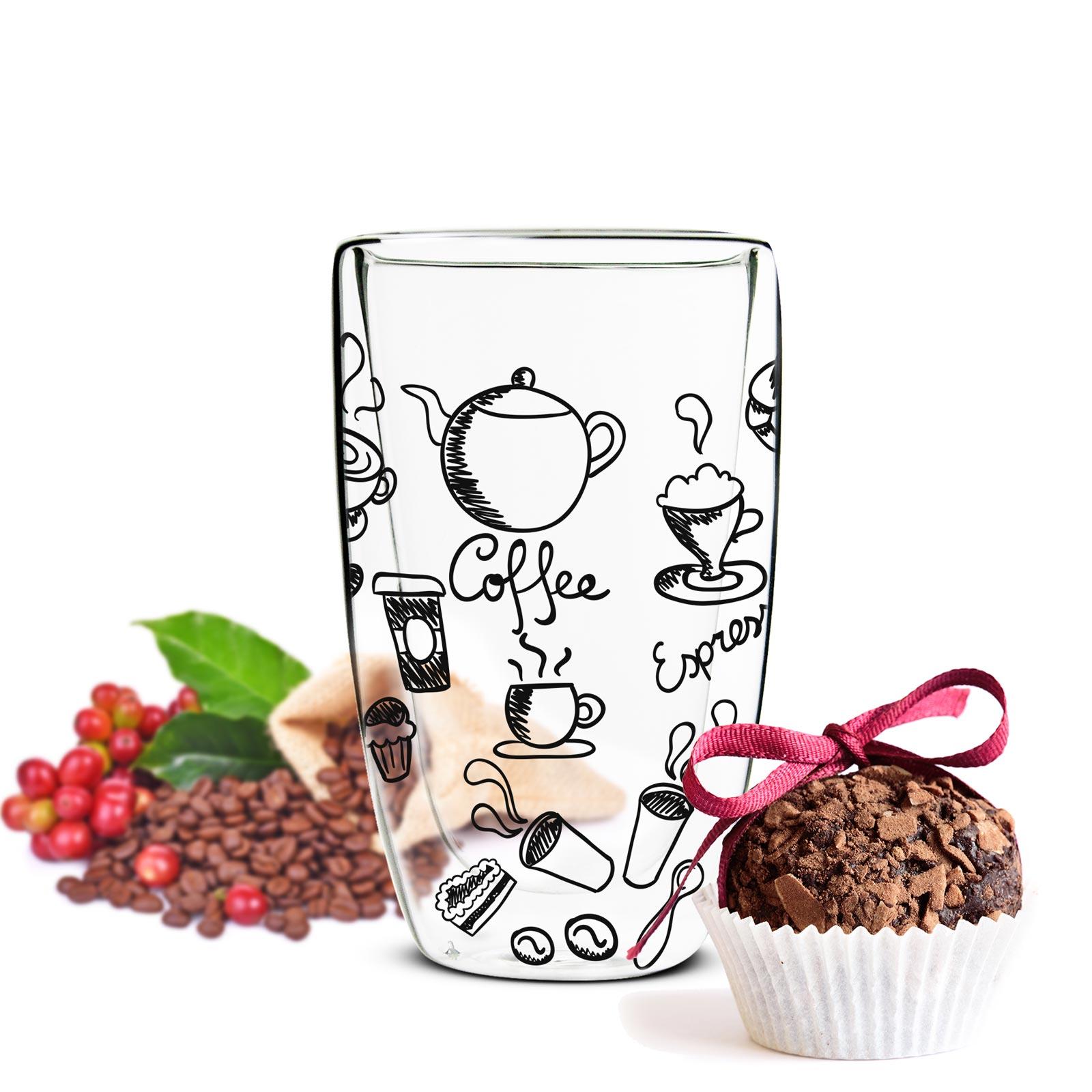 2 doppelwandige latte macchiato gl ser 450ml 2l ffel kaffeegl ser motiv schwarz ebay. Black Bedroom Furniture Sets. Home Design Ideas