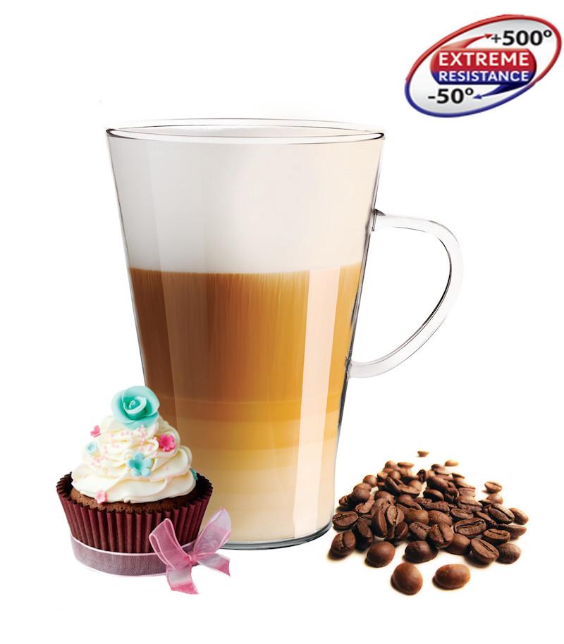 6 latte macchiato gl ser 400 ml mit henkel und 6 edelstahl. Black Bedroom Furniture Sets. Home Design Ideas
