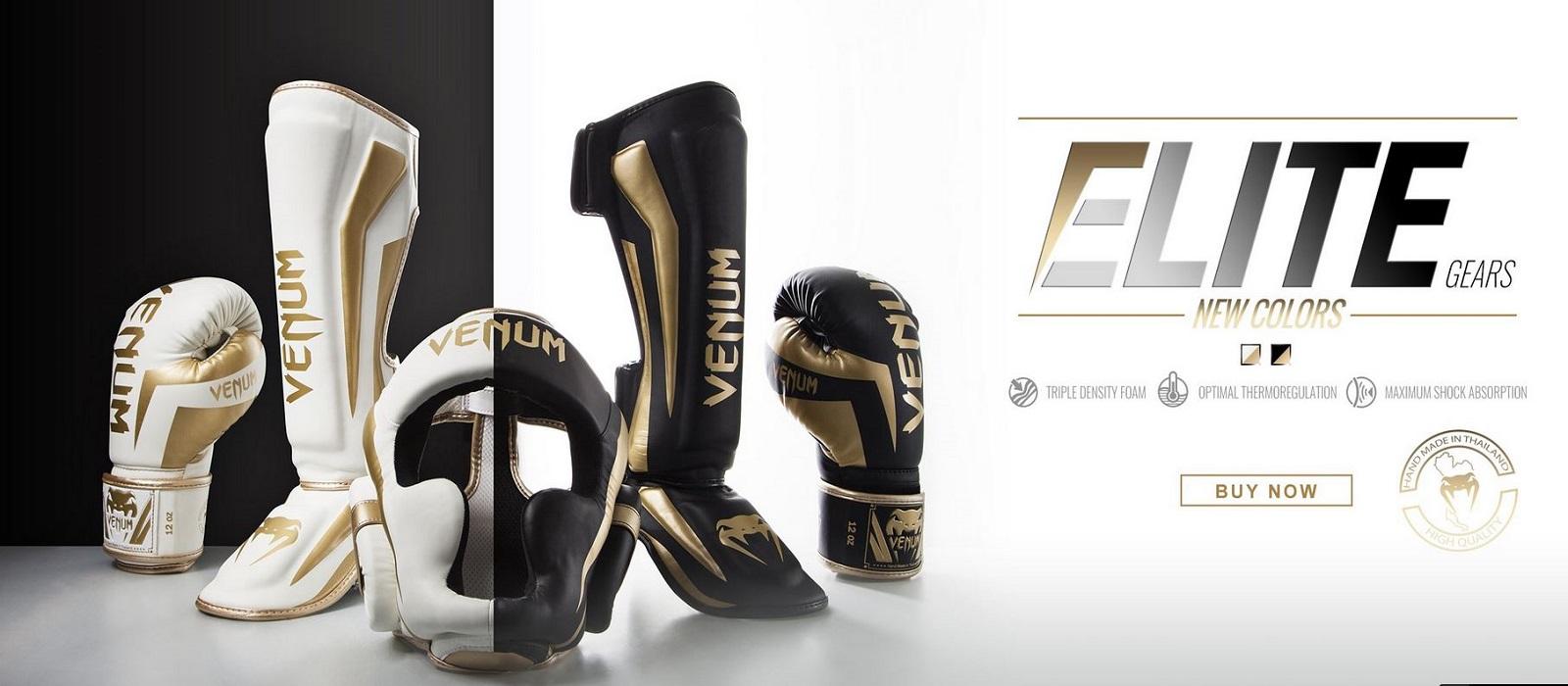 Venum Schienbeinschützer Elite White//Gold,Schienbeinschoner Muay Thai Kickboxen