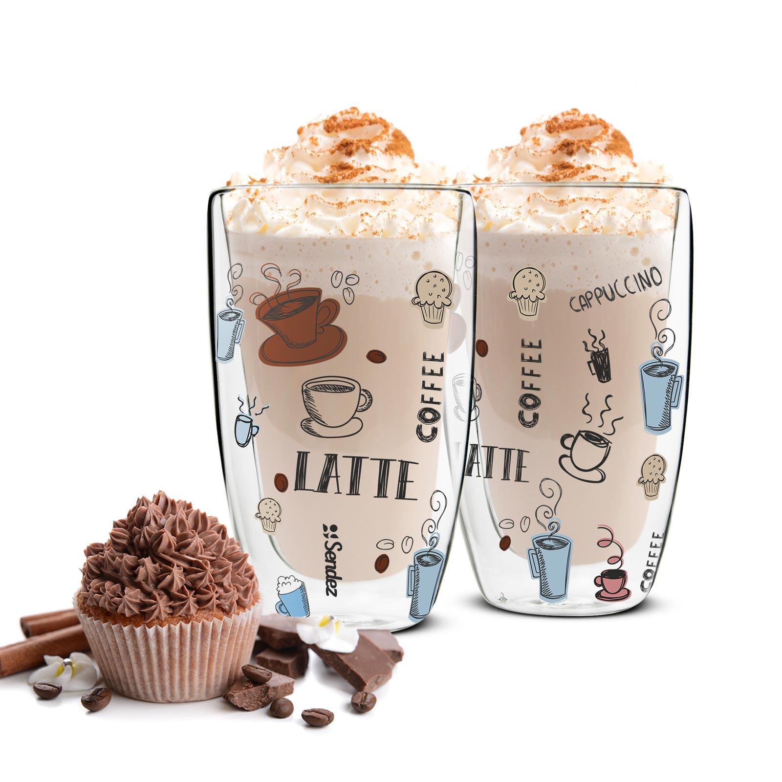 2 doppelwandige latte macchiato gl ser 450ml 2 l ffel kaffegl ser buntes motiv ebay. Black Bedroom Furniture Sets. Home Design Ideas