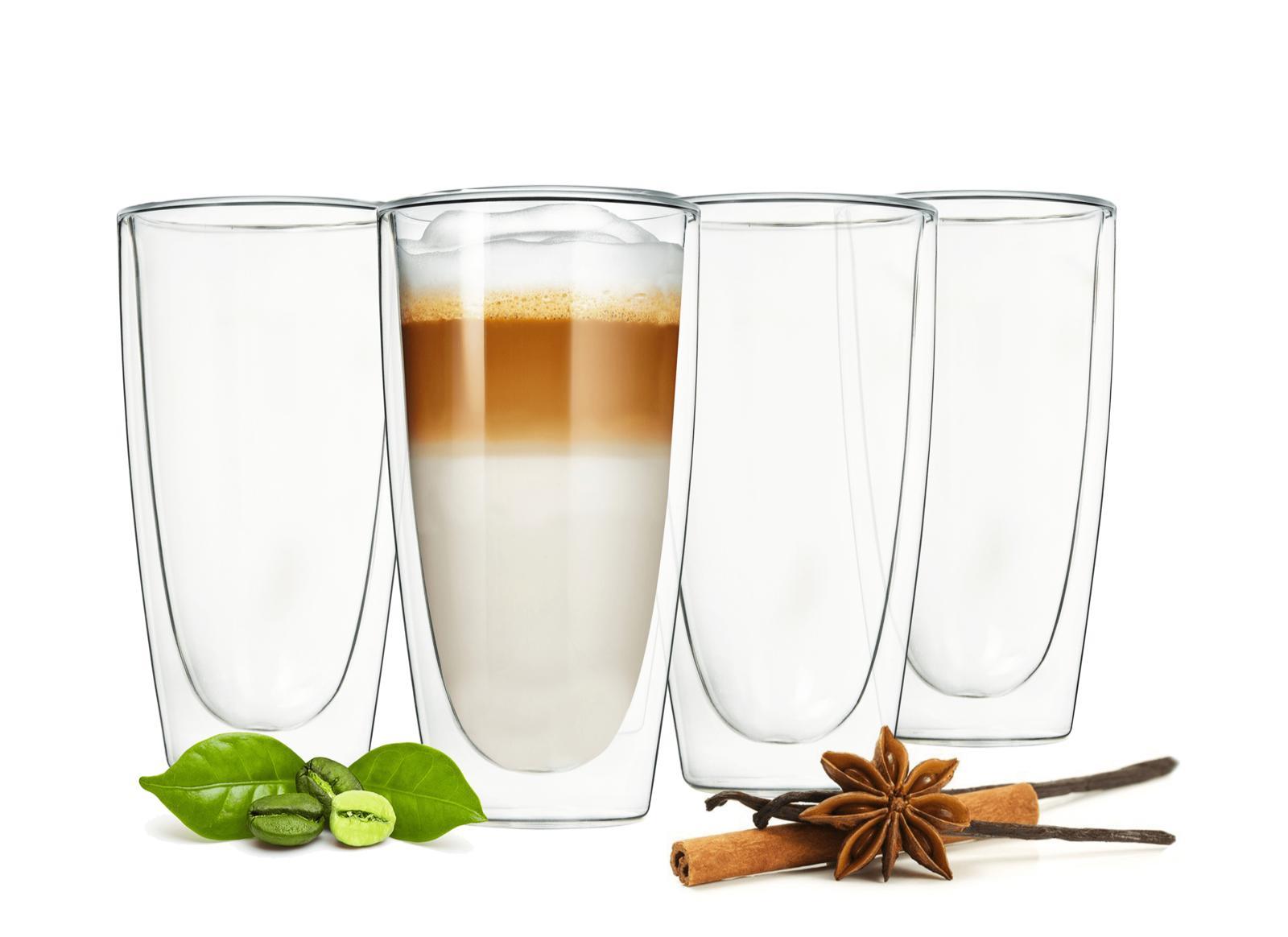 4 doppelwandige latte macchiato gl ser 300ml mit 4 edelstahl l ffel kaffeegl ser ebay. Black Bedroom Furniture Sets. Home Design Ideas